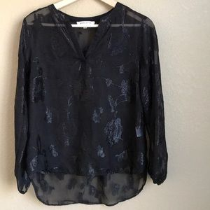 Rose and Olive sheer black floral top, small